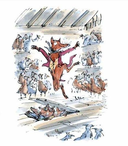 The fantastic Mr. Fox bringing his family in to raid the henhouse.  Story by R. Dahl and illustration by Q. Blake