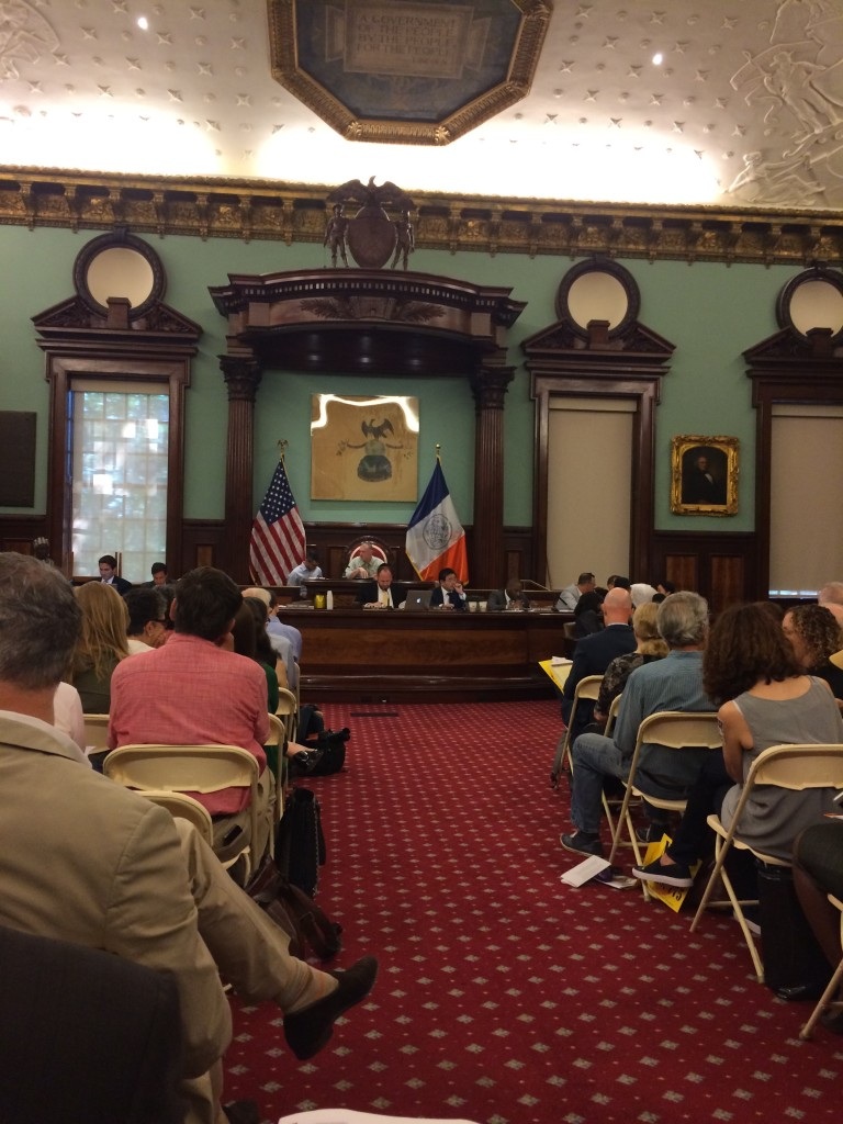A public hearing on anti-landmarking bill 775, chaired by David Greenfield of the City Council, a careful student of REBNY press releases.