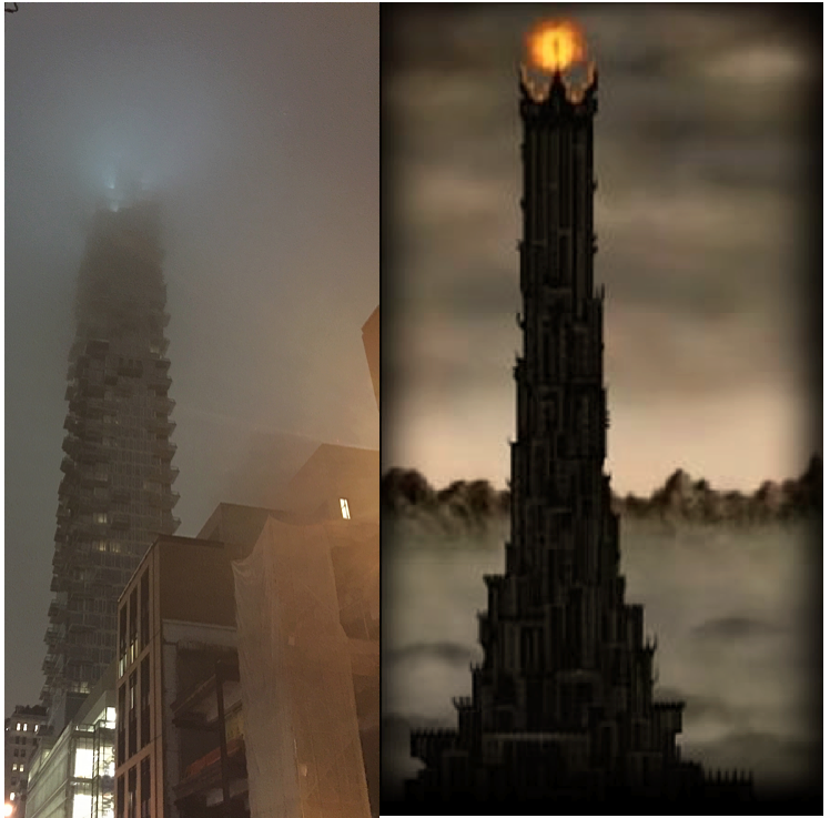 56 Leonard in Tribeca meets Mordor's Tower from Lord of the Rings (sent in by a reader).