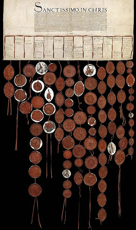 "An ancient petition for change called the ""Capitoline"" petition. The red circles are was seals of the signers."