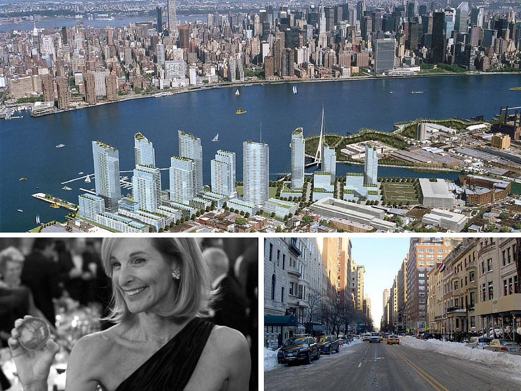 Socialite and former head of City Planning Amanda Burden (lower left) shoved through Bloomberg and Doctoroff's hyper-density ideas (Atlantic Yards shown above), all while sharing the block with Mayor Bloomberg on human-scaled, and landmarked, East 79th Street