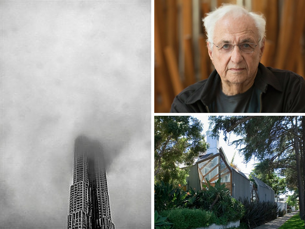 Architect Frank Gehry (upper right) of Gehry Building fame (left) lived for years in the human-scale suburban house in Santa Monica, CA.