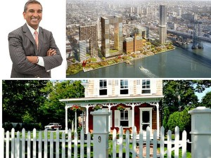 "Vishaan Chakrabarti (upper left), ideologue of hyper-density (Domino Sugar, upper right) and author of ""A Country of Cities"" weekends and summers in the charming, humans-scaled Long Island village of Bellport (typical house shown on bottom)"