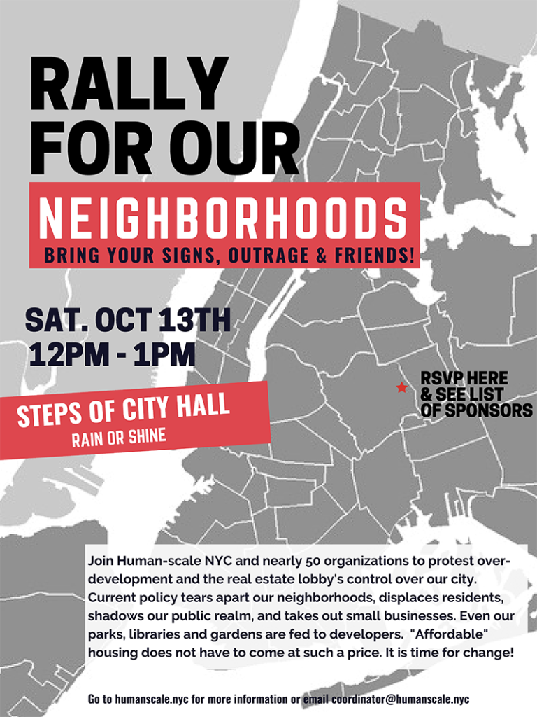 Rally for Our Neighborhoods flyer